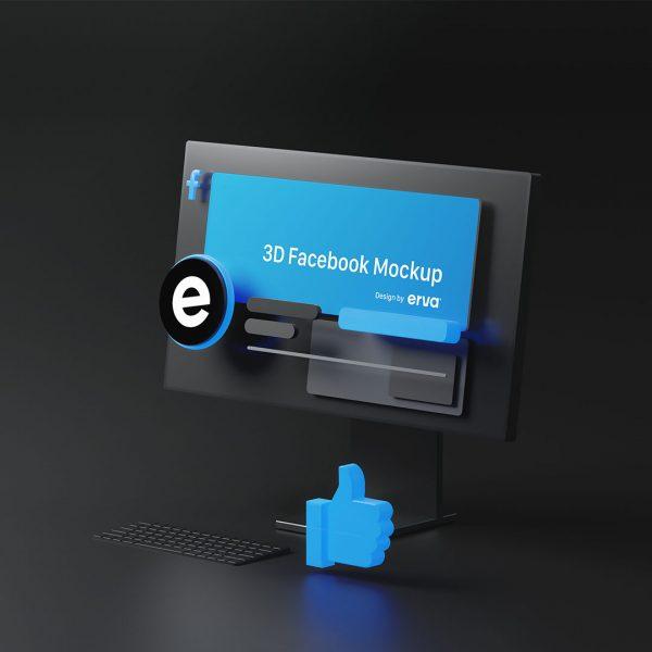 3d facebook mockup